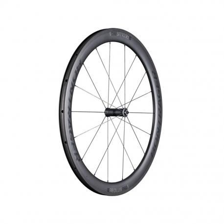 Roue à pneu 700 avant BONTRAGER route Aéolus Pro 5 TLR 50 5x100 noire carbon décor noir