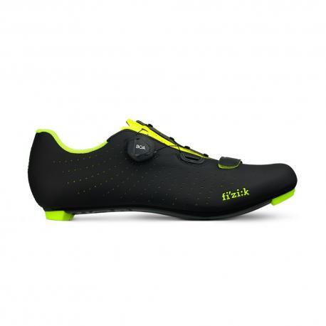 Chaussures FIZIK route R5 Tempo Overcurve noir mat décor jaune fluo verni